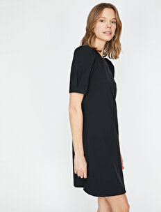 6e3d99b16ae Siyah Bayan Volanlı Elbise 9YAF80551GW999