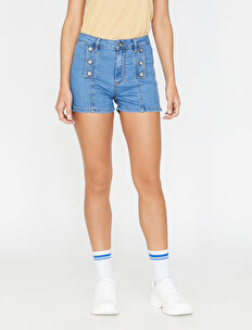 Buttom Detailed Jean Shorts