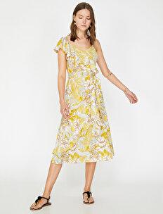 4e960f5d071fc Sarı Bayan The Floral Dress - Çiçek Desenli Elbise 9YAK82641UW02A ...