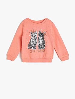 Koton Kız Çocuk Baskili Sweatshirt