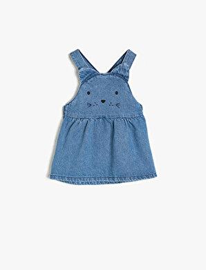 Koton Kız Çocuk Islemeli Jean Elbise