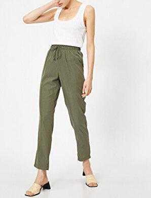 Koton Kadın Bagcik Detaylı Düsük Bel Rahat Kesim Pantolon