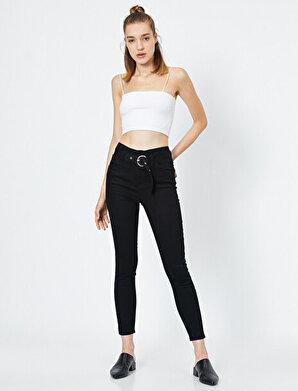 Koton Kadın Kemer Detaylı Slim Fit Cep Detaylı Pantolon