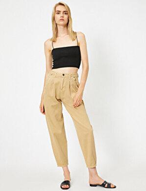 Koton Kadın Yüksek Bel Pileli Pantolon