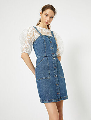 Koton Kadın Cep Detaylı Jean Elbise