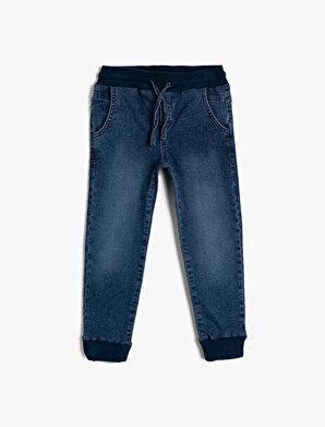 Koton Erkek Çocuk Basic Beli Ve Paçasi Ribanali Beli Kordonlu Jogger Jean Pantalon