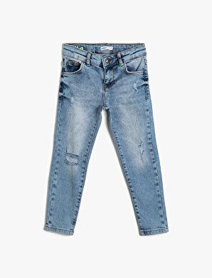 Koton Erkek Çocuk 5 Cep Eskitme Yikamali Slim Dar Paça Jean Pantalon