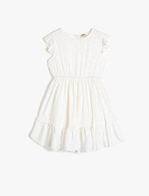 Koton Kız Çocuk Kollari ve Etek Ucu Volanli Elbise