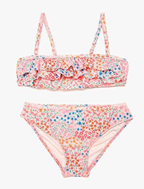 Koton Kız Çocuk Firfir Detaylı Çiçek Desenli Bikini Takimi