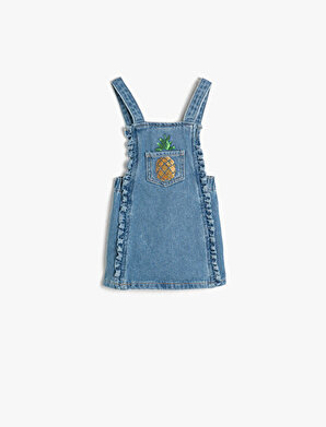 Koton Kız Çocuk Pul Detaylı Jean Elbise