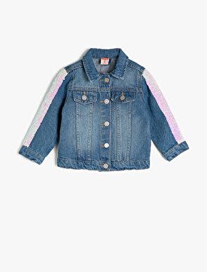 Koton Kız Çocuk Pullu Klasik Yaka Jean Ceket
