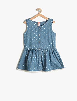 Koton Kız Çocuk Düğme Detaylı Elbise