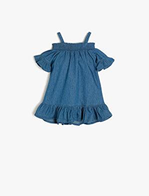 Koton Kız Çocuk Firfir Detaylı Jean Elbise