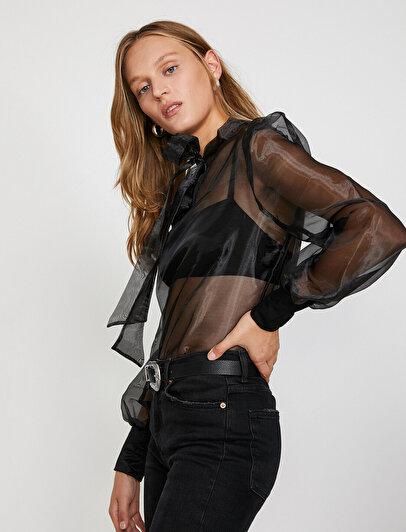 Tül Detaylı Bluz