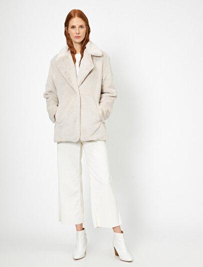 Pocket Detailed Faux Fur Coat