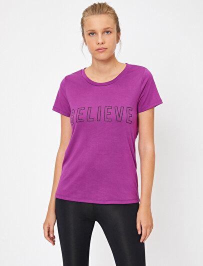 Ebru Şallı Loves Koton Letter Printed T-Shirt