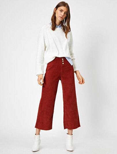 Button Detailed Velvet Trousers