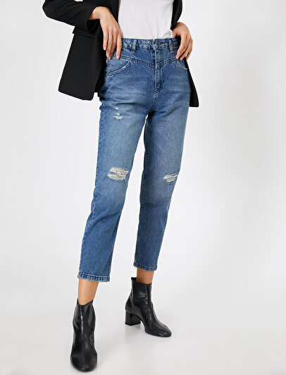 Mom Jean - Yüksek Bel Rahat Kesim Dar Paça Pantolon