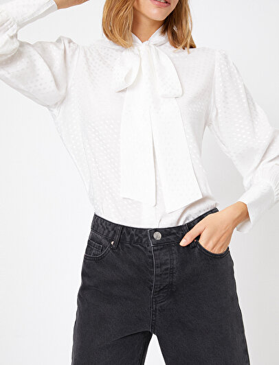 Fular Detaylı Uzun Kollu Gömlek