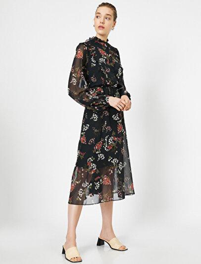 Çiçek Desenli Şifon Maxi Elbise