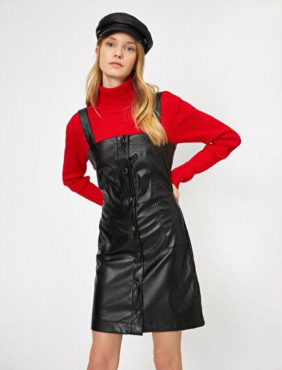 Deri Görünümlü Elbise