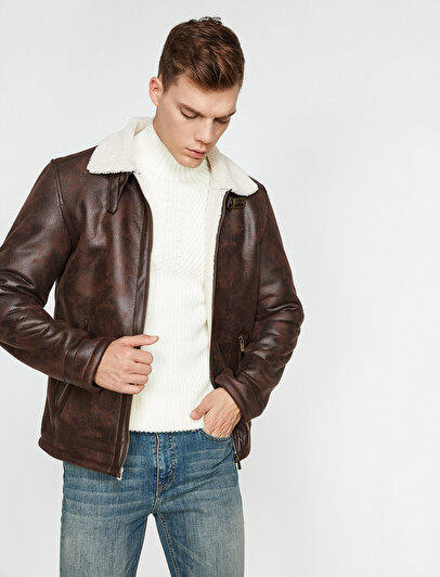 Collar Faux Fur Jacket