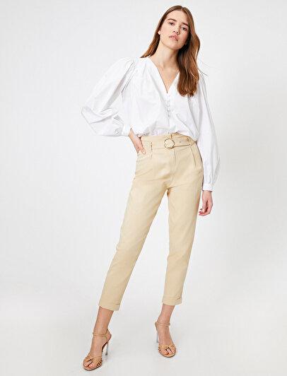 Yüksek Bel Kemer Detaylı Pantolon