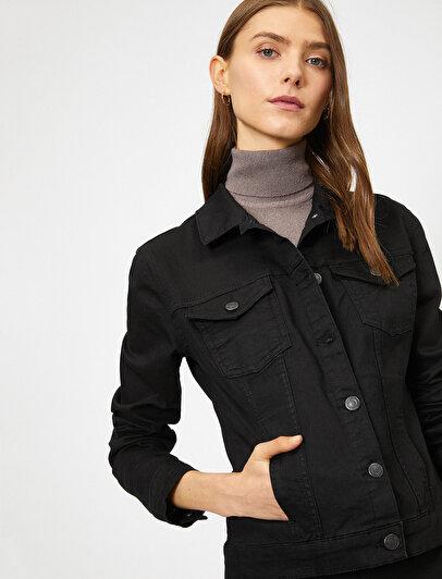 Düğme Detaylı Kot Ceket