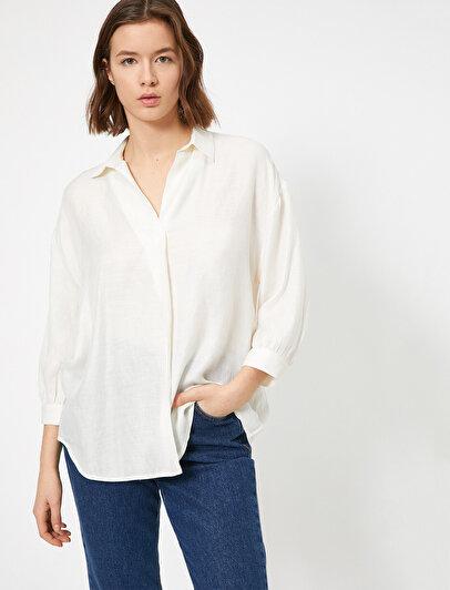 V Yaka Dökümlü Bluz
