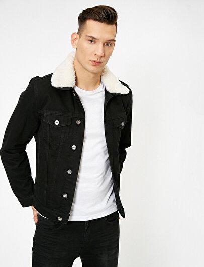 Yakası Suni Kürklü Düğmeli Çıkarılabilir Yakalı Jean Ceket