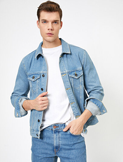 Pocket Detailed Button %100 Cotton  Jean Jacket