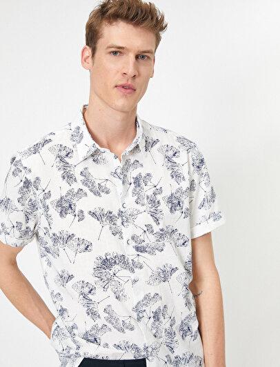 Çiçek Desenli %100 Pamuk Kısa Kollu Slim Fit Gömlek