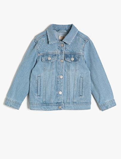 Taş Detaylı Jean Ceket