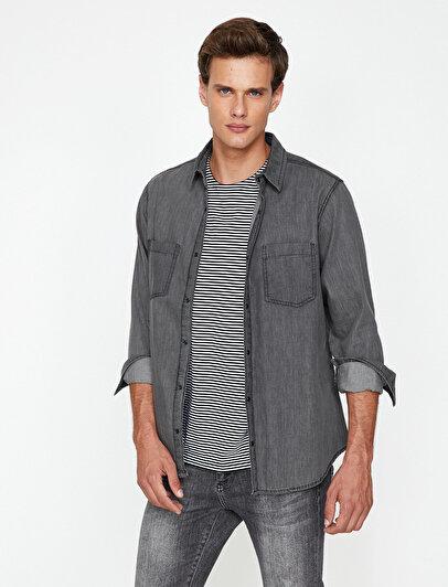 Pocket Detailed Jean Shirt
