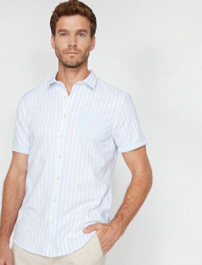 Çizgili Tek Cepli Casual Kısa Kollu Slim Fit Gömlek