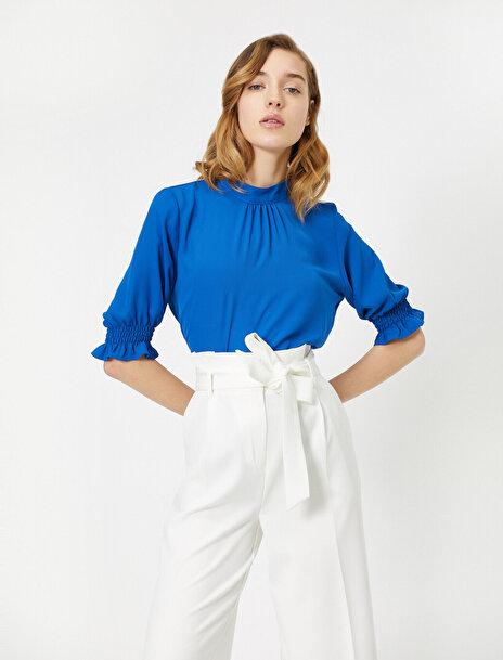 Koton Kadın Dik Yaka 3/4 Kollu Firfir Detayli Bluz