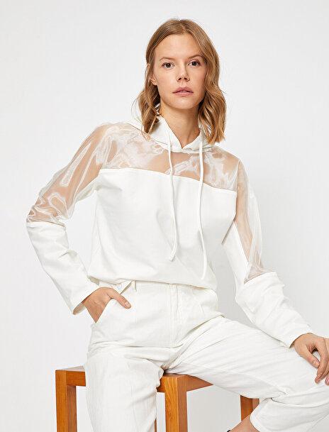 Koton Kadın Kapüsonlu Tül Detayli Uzun Kollu Sweatshirt