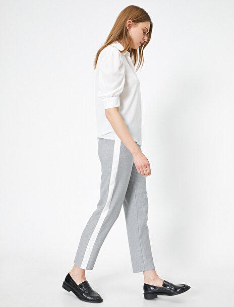 Koton Kadın Yani Çizgili Cep Detayli Pantolon