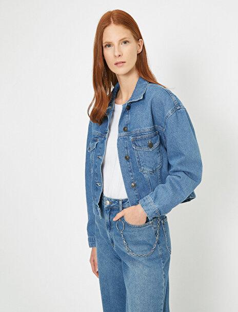 Koton Kadın Dügme Detayli Jean Ceket