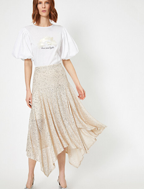 Koton Kadın Skirtly Yours Styled by Melis Agazat – Pul Detaylı Asimetrik Etek