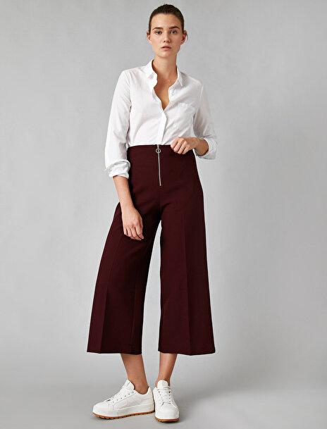 Koton Kadın Fermuarlı Crop Pantolon