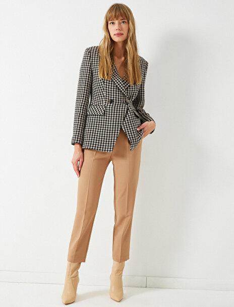 Koton Kadın Yüksek Bel Crop Straight Pantolon