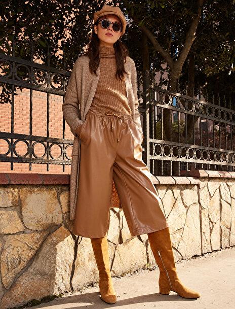 Koton Kadın Deri Görünümlü Crop Pantolon
