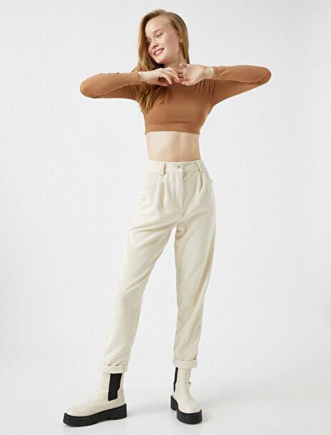 Koton Ole Genç Kız Yüksek Bel Fitilli Kadife Mom Fit Pantolon