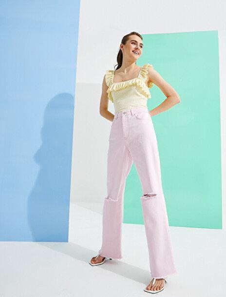Koton Kadın Eve Jean – Yüksek Bel Normal Kesim  Pantolon