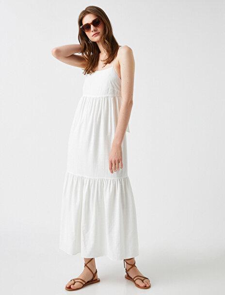 Koton Kadın Respect Life – Yasama Saygi – Sahika Ercümen X Koton Ince Askılı Elbise Maxi