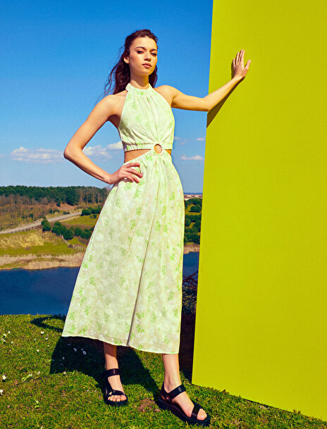 Koton Kadın Çiçekli Elbise Pencere Detaylı Pamuklu