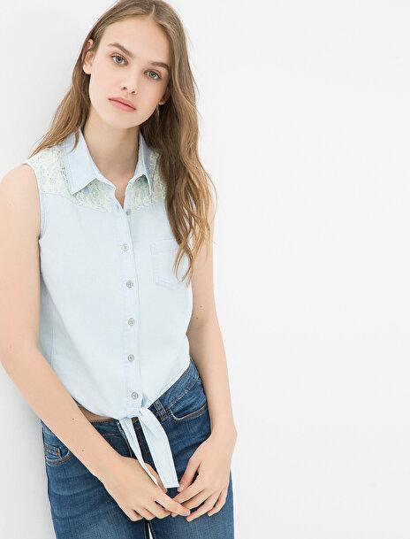 Kadın Klasik Yaka Denim Gömlek