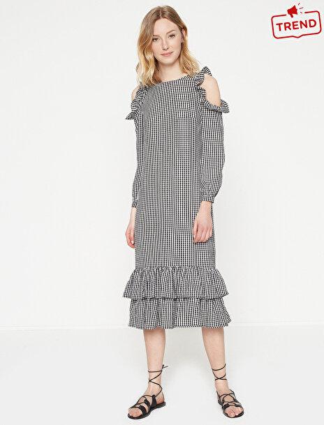 Kadın Omuz Detayli Midi Elbise