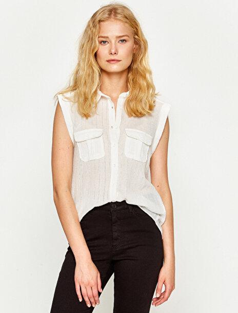 Kadın Cep Detayli Gömlek